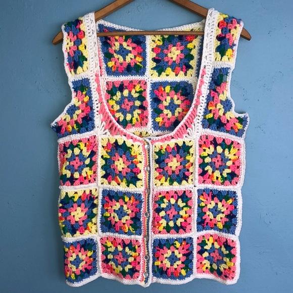 Vintage Jackets & Blazers - Vintage crocheted vest